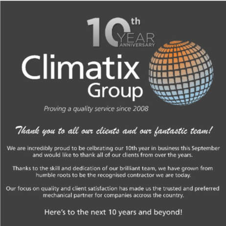 Celebrating 10 years of Climatix Group Ltd